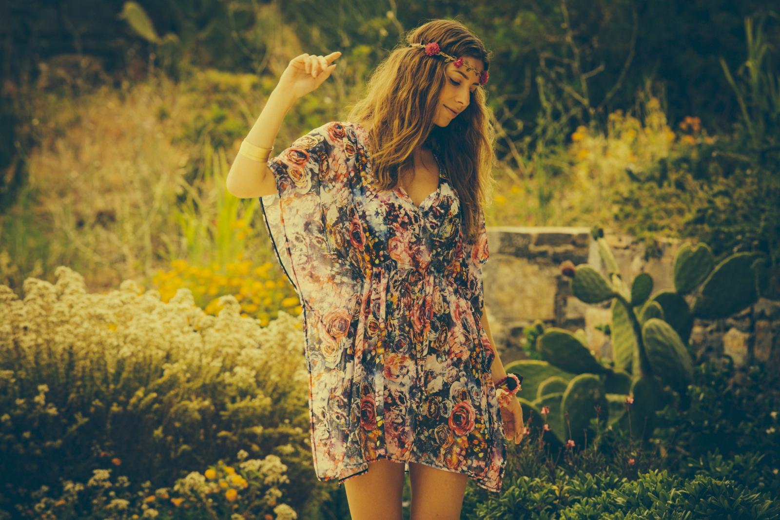 Heather in a Greek garden 60s vibe